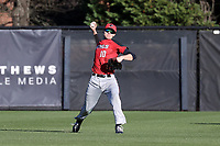 GREENSBORO, NC - FEBRUARY 25: Dan Ryan #10 of Fairfield University throws the ball from center field during a game between Fairfield and UNC Greensboro at UNCG Baseball Stadium on February 25, 2020 in Greensboro, North Carolina.