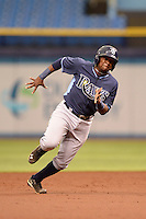 Tampa Bay Rays third baseman Cristian Toribio (70) during an Instructional League game against the Boston Red Sox on September 25, 2014 at Tropicana Field in St. Petersburg, Florida.  (Mike Janes/Four Seam Images)