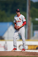 Johnson City Cardinals starting pitcher Kyle Leahy (33) gets ready to deliver a pitch during the first game of a doubleheader against the Princeton Rays on August 17, 2018 at Hunnicutt Field in Princeton, Virginia.  Johnson City defeated Princeton 6-4.  (Mike Janes/Four Seam Images)