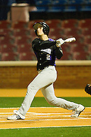 Chris Kontos #2 of the Northwestern Wildcats follows through on his swing against the Wake Forest Demon Deacons at Gene Hooks Field on February 26, 2011 in Winston-Salem, North Carolina.  Photo by Brian Westerholt / Four Seam Images