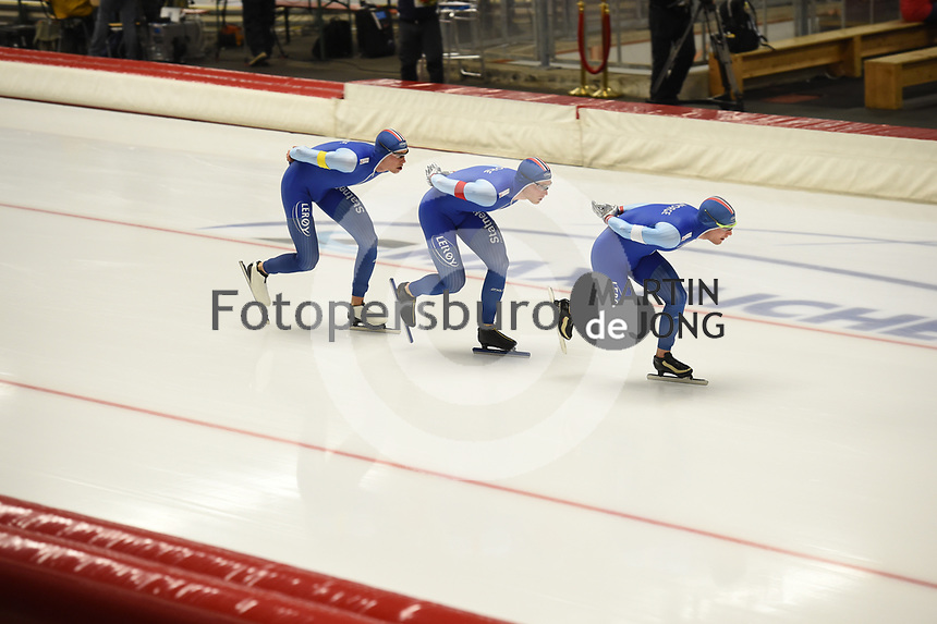 SPEEDSKATING: INZELL: Max Aicher Arena, 08-02-2019, ISU World Single Distances Speed Skating Championships, Team Pursuit Men, Sindre Henriksen, Håvard Bøkko, Sverre Lunde Pedersen, Norway, ©photo Martin de Jong