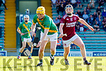 Daniel Collins, Kilmoyley in action against Dan Goggin, Causeway during the Kerry County Senior Hurling Championship Final match between Kilmoyley and Causeway at Austin Stack Park in Tralee