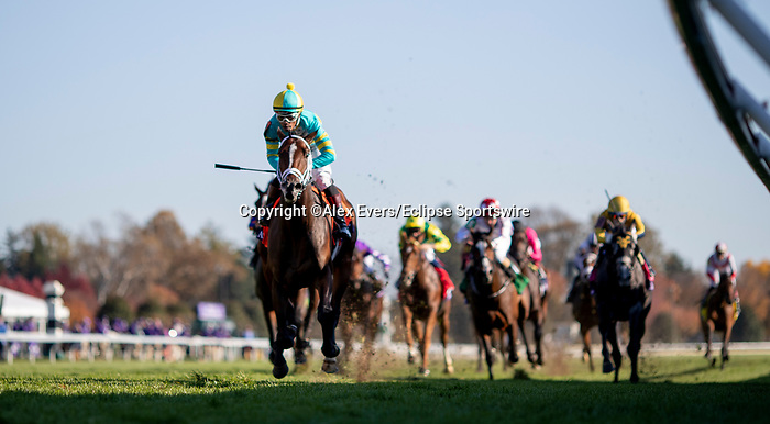 November 6, 2020: Fire at Will, ridden by Ricardo Santana, Jr., wins the Juvenile Turf Presented By Coolmore America on Breeders' Cup Championship Friday at Keeneland on November 6, 2020: in Lexington, Kentucky. Alex Evers/Breeders' Cup/Eclipse Sportswire/CSM