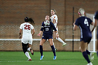 CHAPEL HILL, NC - NOVEMBER 29: Alessia Russo #19 of the University of North Carolina settles the ball in front of Jessica Haidet #3 of the University of Southern California during a game between University of Southern California and University of North Carolina at UNC Soccer and Lacrosse Stadium on November 29, 2019 in Chapel Hill, North Carolina.