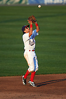 Auburn Doubledays shortstop Angelo La Bruna (5) catches a popup during a game against the Williamsport Crosscutters on June 25, 2016 at Falcon Park in Auburn, New York.  Auburn defeated Williamsport 5-4.  (Mike Janes/Four Seam Images)