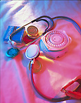 contraceptives with stethoscope