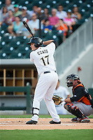 Jason Coats (17) of the Charlotte Knights at bat against the Norfolk Tides at BB&T BallPark on July 17, 2015 in Charlotte, North Carolina.  The Knights defeated the Tides 5-4.  (Brian Westerholt/Four Seam Images)