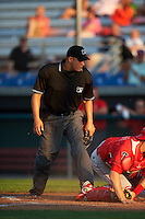 Umpire Robert Nunez during a game between the Williamsport Crosscutters and Auburn Doubledays on June 25, 2016 at Falcon Park in Auburn, New York.  Auburn defeated Williamsport 5-4.  (Mike Janes/Four Seam Images)