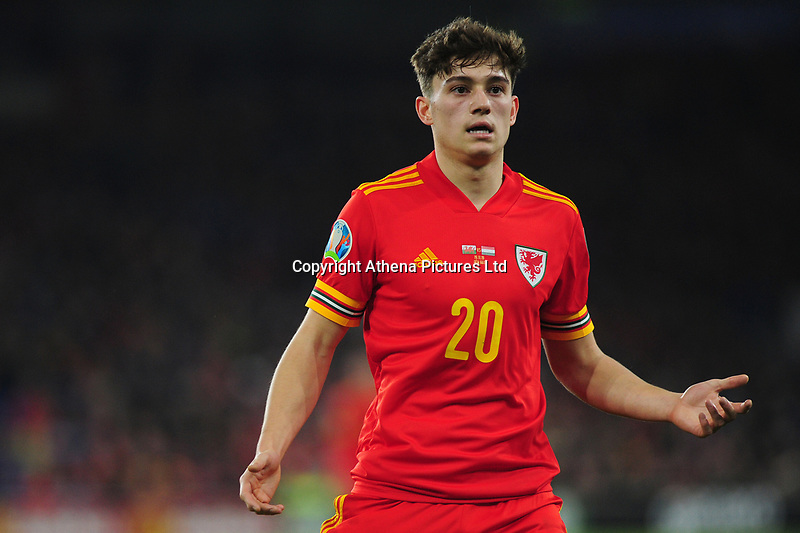 Daniel James of Wales during the UEFA Euro 2020 Group E Qualifier match between Wales and Hungary at the Cardiff City Stadium in Cardiff, Wales, UK. Tuesday 19th November 2019