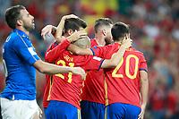 Spain's Alvaro Morata, David Jimenez Silva, Sergio Ramos and Marco Asensio celebrate goal during FIFA World Cup 2018 Qualifying Round match. September 2,2017.(ALTERPHOTOS/Acero)