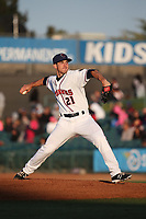 Craig Schlitter (21) of the Lancaster JetHawks pitches against the Stockton Ports at The Hanger on May 12, 2017 in Lancaster, California. Lancaster defeated Stockton, 7-2. (Larry Goren/Four Seam Images)