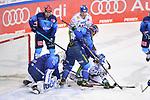 Mirko Höfflin (Nr.10 - ERC Ingolstadt) und Michael Clarke (Nr.44 - Augsburger Panther) vor Torwart Nicolas Daws (Nr.35 - ERC Ingolstadt) beim Spiel in der Gruppe Sued der DEL, ERC Ingolstadt (dunkel) - Augsburger Panther (hell).<br /> <br /> Foto © PIX-Sportfotos *** Foto ist honorarpflichtig! *** Auf Anfrage in hoeherer Qualitaet/Aufloesung. Belegexemplar erbeten. Veroeffentlichung ausschliesslich fuer journalistisch-publizistische Zwecke. For editorial use only.