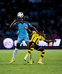Manchester City defender Tosin Adarabioyo (l) fights for the ball with Borussia Dortmund striker Ousmane Dembele (r) during the match between Manchester City FC during their 2016 International Champions Cup China match at the Shenzhen Stadium on 28 July 2016 in Shenzhen, China. Photo by Marcio Machado / Power Sport Images