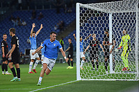 30th September 2021;  Stadio Olimpico, Rome, Italy;Europa League Football, SS Lazio versus Lokomotiv Moscow; Patric of SS Lazio celebrates after scoring his goal for 2-0 in minute 38 from close in and a corner