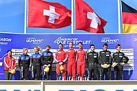 #51 LUZICH RACING (CHE) FERRARI F488 GTE LMGTE ALESSANDRO PIER GUIDI (ITA) NICKLAS NIELSEN (DNK) FABIEN LAVERGNE (FRA) WINNER LMGTE<br /> #83 KESSEL RACING (CHE) FERRARI F488 GTE LMGTE MANUELA GOSTNER (ITA) RAHEL FREY (CHE) MICHELLE GATTING (DNK) SECOND LMGTE<br /> #77 DEMPSEY - PROTON RACING (DEU) PORSCHE 911 RSR LMGTE CHRISTIAN RIED (DEU) RICCARDO PERA (ITA) MATTEO CAIROLI (ITA) THIRD LMGTE
