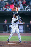 Idaho Falls Chukars shortstop Offerman Collado (0) at bat during a Pioneer League game against the Billings Mustangs at Melaleuca Field on August 22, 2018 in Idaho Falls, Idaho. The Idaho Falls Chukars defeated the Billings Mustangs by a score of 5-3. (Zachary Lucy/Four Seam Images)