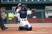Catcher Omar Hernandez (6) of the Columbia Fireflies in a game against the Charleston RiverDogs on Tuesday, May 11, 2021, at Segra Park in Columbia, South Carolina. (Tom Priddy/Four Seam Images)