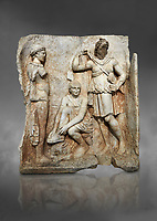 Roman Sebasteion relief  sculpture of Meleager and Atalante  Aphrodisias Museum, Aphrodisias, Turkey. Against a grey background.<br /> <br /> Meleager sits on a rock tying his sandal. Below him lies a fierce hunting dog with a broad collar. On one side a god or another hero wearing a rounded hat was crowning Meleager ( arm missing). On the other side stands the huntress Atalante, Meleager's lover: she wears a short dress and quiver, and lifts her cloak at the shoulder in a gesture of modesty.