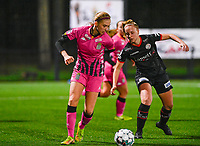 Ludmila Matavkova (9) of Sporting Charleroi pictured with defending Lotte De Wilde (19) of Zulte-Waregem during a female soccer game between Sporting Charleroi and SV Zulte-Waregem on the 12 th matchday of the 2020 - 2021 season of Belgian Scooore Womens Super League , friday 29 th of January 2021  in Marcinelle , Belgium . PHOTO SPORTPIX.BE | SPP | DAVID CATRY