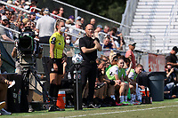 CARY, NC - SEPTEMBER 12: Head coach Mark Parsons of the Portland Thorns FC watches from the bench during a game between Portland Thorns FC and North Carolina Courage at Sahlen's Stadium at WakeMed Soccer Park on September 12, 2021 in Cary, North Carolina.
