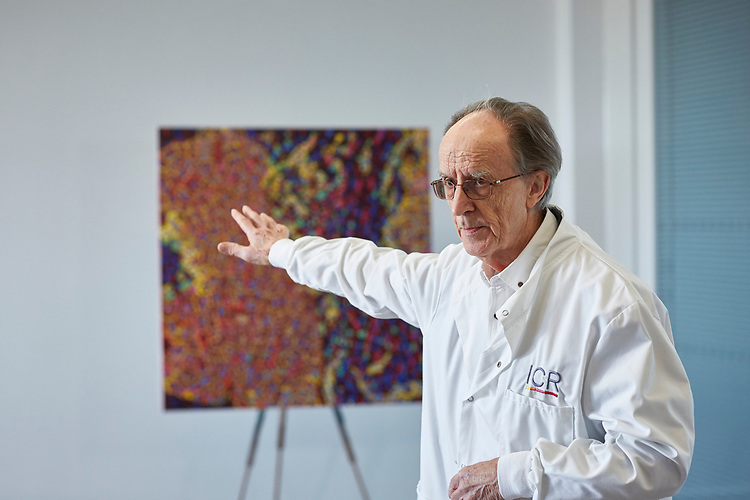 200316 - © John Angerson<br /> Sir Melvyn Greaves.<br /> ICR has commissioned well-known pointillist artist James Cochran to create cell portrait using an actual ICR lab pipette to paint every dot. The piece of work will be made up of around lab pipette which will symbolise the precision science that goes into making the discoveries that defeat cancer.