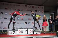 podium finishers Luke Row (GBR/Team Sky) & Jasper Stuyven (BEL/Trek-Segafredo) congratulating each other on the podium<br /> <br /> 69th Kuurne-Brussel-Kuurne 2017 (1.HC)