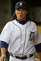 Detroit Tigers' Magglio Ordonez (30) in the dugout prior to taking on the Los Angeles Angels at Comerica Park in Detroit, MI, Sunday, April 27, 2008.