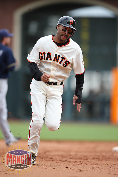 SAN FRANCISCO - JULY 20:  Randy Winn of the San Francisco Giants runs the bases during the game against the Milwaukee Brewers at AT&T Park in San Francisco, California on July 20, 2008.  The Brewers defeated the Giants 7-4.  Photo by Brad Mangin