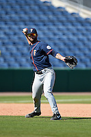 Cal State Fullerton Titans infielder Taylor Bryant (1) warms up in between innings during a game against the Louisville Cardinals on February 15, 2015 at Bright House Field in Clearwater, Florida.  Cal State Fullerton defeated Louisville 8-6.  (Mike Janes/Four Seam Images)