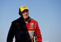 Sept. 22, 2013; Ennis, TX, USA: NHRA top fuel dragster driver Doug Kalitta celebrates after winning the Fall Nationals at the Texas Motorplex. Mandatory Credit: Mark J. Rebilas-