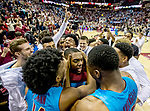 Florida State guard Trent Forrest gets swarmed by teammates after he made the game winning shot and a steal on the inbounds pass with fives seconds left in the second half of an NCAA college basketball game against Purdue in Tallahassee, Fla., Wednesday, Nov. 28, 2018. Florida State defeated Purdue 73-72.  (AP Photo/Mark Wallheiser)