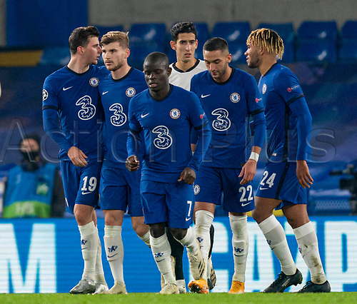 4th November 2020, Stamford Bridge, London, England;  Chelseas Timo Werner 2nd L celebrates after scoring the second goal from a second penalty kick during the UEFA Champions League Group E match between Chelsea and Rennes at Stamford Bridge