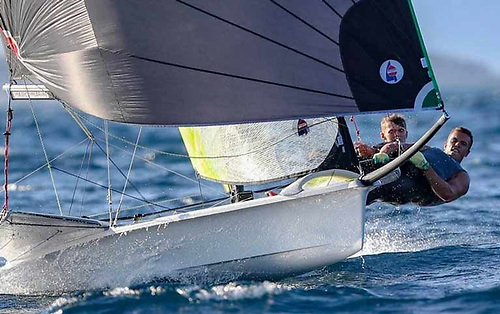 Robert Dickson and Sean Waddilove get up a head of steam to win the 49er U23 Worlds at Marseille in September  2018