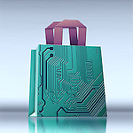 Illustrative image of computer chip with handles representing online shopping