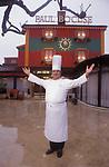 French chef  Paul Bocuse in Lyon France outside his restaurant 1980s