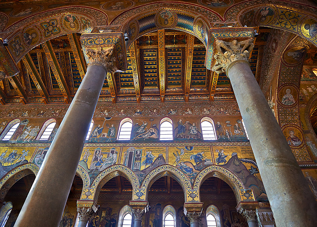 Mosaics of the Norman-Byzantine medieval cathedral  of Monreale,  province of Palermo, Sicily, Italy.