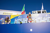 13th February 2021, Cortina, Italy; FIS World Championship Womens Downhill Skiing; Silver medal winner Kira Weidle of Germany Gold medal winner and downhill world champion 2021 Corinne Suter of Switzerland during the winners ceremony