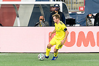 FOXBOROUGH, MA - OCTOBER 3: Dax McCarty #6 of Nashville SC dribbles at midfield during a game between Nashville SC and New England Revolution at Gillette Stadium on October 3, 2020 in Foxborough, Massachusetts.