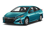 2017 Toyota PRIUS PRIME Four 5 Door Hatchback angular front stock photos of front three quarter view