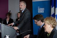 2013 File Photo  - Jean-Francois Lisee (L),Pauline Marois, Quebec Premier