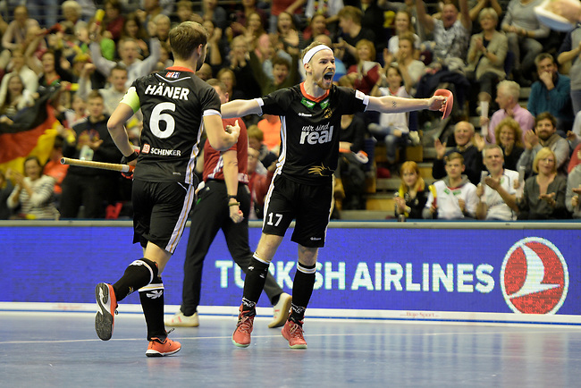 Berlin, Germany, February 10: During the FIH Indoor Hockey World Cup semi-final match between Germany (black) and Iran (white) on February 10, 2018 at Max-Schmeling-Halle in Berlin, Germany. Final score 6-2. (Photo by Dirk Markgraf / www.265-images.com) *** Local caption *** Martin HAENER #6 of Germany, Christopher RUEHR #17 of Germany