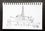 Port Townsend, troller Duna, on the hard at Port of Port Townsend, Boat Haven Marina, Washington State, November 2014, Journal Art 2014, pen and ink,