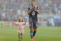 SAINT PAUL, MN - JUNE 23: Michael Boxall #15 of Minnesota United FC celebrates the win after a game between Austin FC and Minnesota United FC at Allianz Field on June 23, 2021 in Saint Paul, Minnesota.