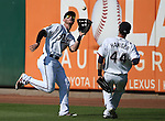 Reno Aces' Todd Glaesmann makes the catch against the Tacoma Rainiers at Greater Nevada Field in Reno, Nev., on Sunday, Aug. 28, 2016. Tacoma won 4-3. <br />Photo by Cathleen Allison