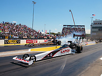 Sep 23, 2018; Madison, IL, USA; NHRA top fuel driver Steve Torrence (near) defeats Mike Salinas during the Midwest Nationals at Gateway Motorsports Park. Mandatory Credit: Mark J. Rebilas-USA TODAY Sports