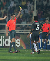 Zachary Herold is issued a yellow card. Spain defeated the U.S. Under-17 Men National Team  2-1 at Sani Abacha Stadium in Kano, Nigeria on October 26, 2009.