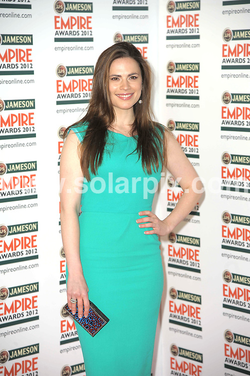 **ALL ROUND PICTURES FROM SOLARPIX.COM**                                             **WORLDWIDE SYNDICATION RIGHTS**                                                                                  Empire Film Awards at the Grovsnor House Hotel in London..This pic:   Hayley Atwell                                                                   .JOB REF:   14607   MSR       DATE:   26.03.12                                                        **MUST CREDIT SOLARPIX.COM OR DOUBLE FEE WILL BE CHARGED**                                                                      **MUST AGREE FEE BEFORE ONLINE USAGE**                               **CALL US ON: +34 952 811 768 or LOW RATE FROM UK 0844 617 7637**