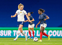 LE HAVRE, FRANCE - APRIL 13: Samantha Mewis #3 of the USWNT defends Viviane Asseyi #18 of France during a game between France and USWNT at Stade Oceane on April 13, 2021 in Le Havre, France.