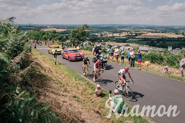 Jasper de Buyst (BEL/Lotto-Soudal), Nicolas Edet (FRA/Cofidis) & Tom Skujins (LAT/Trek Segafredo) dropped by Sylvain Chavanel overt the 3rd catagorized climb of the day<br /> <br /> Stage 5: Lorient > Quimper (203km)<br /> <br /> 105th Tour de France 2018<br /> ©kramon