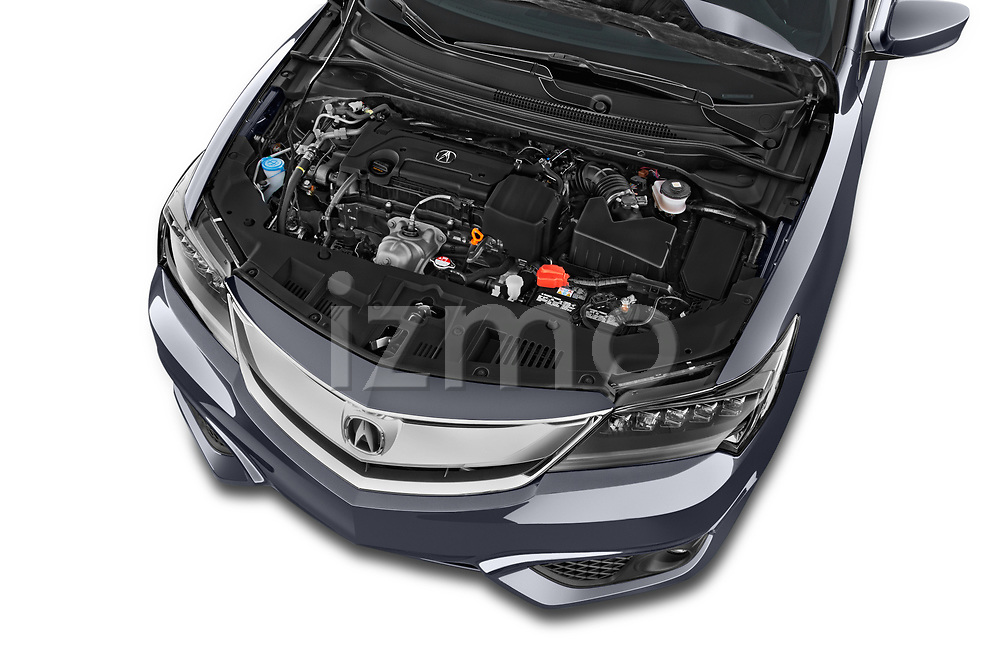 Car stock 2017 Acura ilx Tech Plus and A Spec Package 4 Door Sedan engine high angle detail view